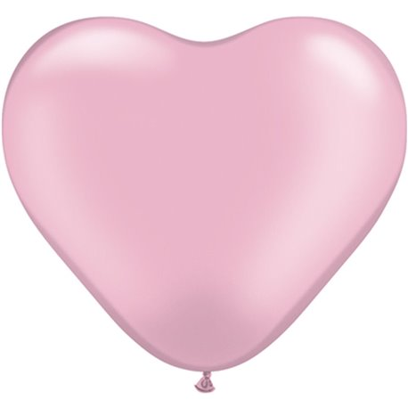 "6"" Pearl Pink Latex Heart Balloons, Qualatex 17731, Pack of 100 pieces"