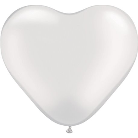 """6"""" Pearl White Latex Heart Balloons, Qualatex 17732, Pak of 100 pieces"""