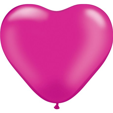 """6"""" Pearl Magenta Latex Heart Balloons, Qualatex 17733, Pack of 100 pieces"""
