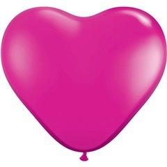 "Baloane latex in forma de inima, Jewel Magenta, 6"", Qualatex 99328, set 100 buc"