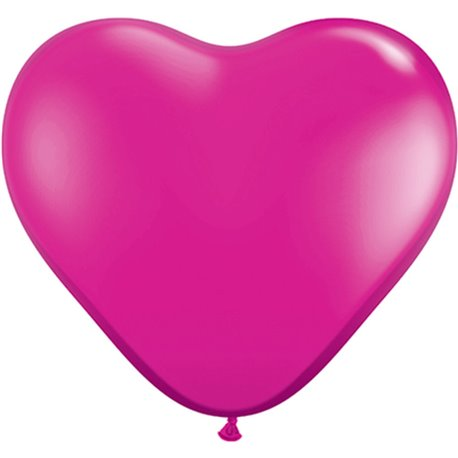 "6"" Jewel Magenta Latex Heart Balloons, Qualatex 99328, Pack of 100 pieces"