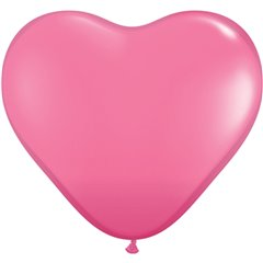 "6"" Rose Latex Heart Balloons, Qualatex 43646, Pack of 100 pieces"