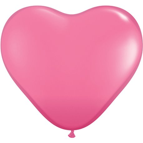 """6"""" Rose Latex Heart Balloons, Qualatex 43646, Pack of 100 pieces"""