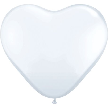 3' White Heart Jumbo Balloons, Qualatex 44481, Pack of 2 pieces