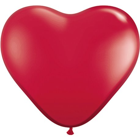 3' Ruby Red Heart Jumbo Balloons, Qualatex 44487, Pack of 2 pieces