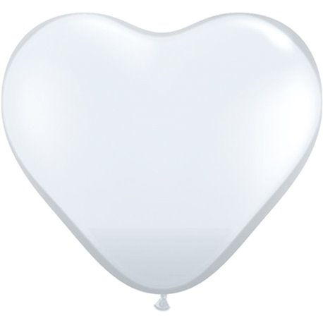 3' Diamond Clear Heart Jumbo Balloons, Qualatex 44522, Pack of 2 pieces