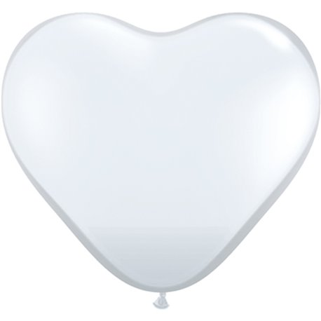"""6"""" Diamond Clear Latex Heart Balloons, Qualatex 43635, Pack of 100 pieces"""