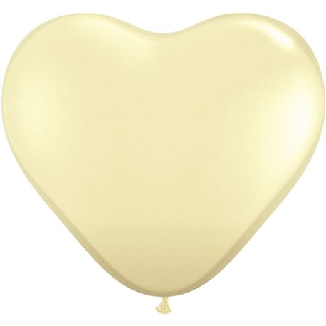 """6"""" Ivory Silk Latex Heart Balloons, Qualatex 48586, Pack of 100 pieces"""