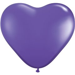 """6"""" Purple Violet Latex Heart Balloons, Qualatex 13791, Pack of 100 pieces"""