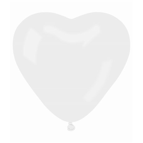 Latex White 01 Heart Balloons, 6 inch (16 cm), Gemar CR6.01, Pack Of 100 pieces