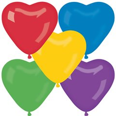 Latex Assorted Heart Balloons, 6 inch (16 cm), Gemar CR6.ASS