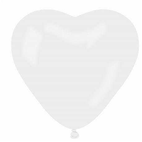 Baloane latex in forma de inima, Diametru 25 cm, Alb 01, Gemar CR.01, set 100 buc