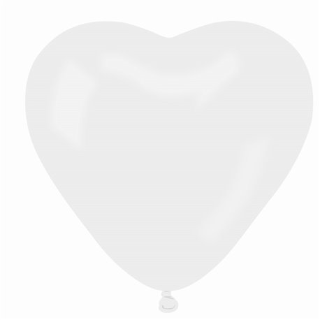 Latex White 01 Heart Balloons, 10 inch (25 cm), Gemar CR.01, Pack Of 100 pieces