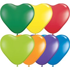 "6"" Carnival Assortment Latex Heart Balloons, Qualatex 13763"