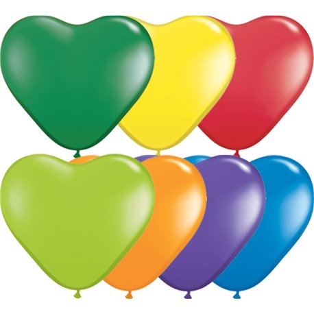 """6"""" Carnival Assortment Latex Heart Balloons, Qualatex 13763, Pack Of 100 pieces"""