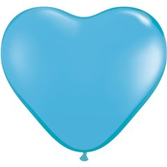 "6"" Pale Blue Latex Heart Balloons, Qualatex 60189"