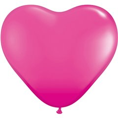 "6"" Wild Berry Latex Heart Balloons, Qualatex 30213, Pack of 100 pieces"