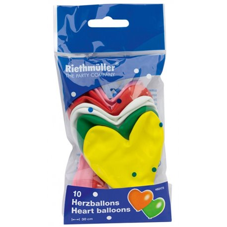 Baloane latex in forma de inima, Diametru 30 cm, Asortate, Amscan 460173, set 10 buc