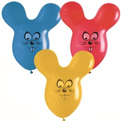 Assorted Latex Balloons - Mouse, 26 inch (65 cm), Gemar GPF020, Pack Of 5 pieces