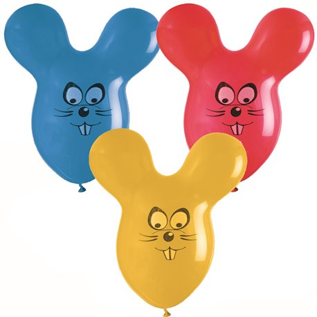 Assorted Latex Balloons - Mouse, 26 inch (65 cm), Gemar GPF020, Pack Of 50 pieces