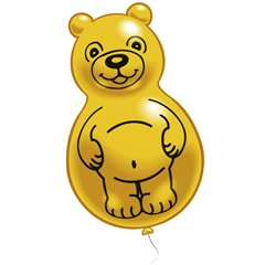 Yellow Teddy Figure Latex Balloons, Amscan RM48214, Pack Of 2 pieces