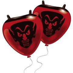 Red Little Devils Figure Latex Balloons, Amscan 48211, Pack Of 5 pieces