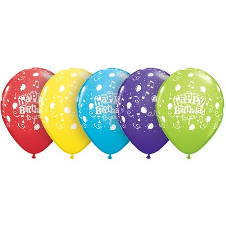 "Baloane latex 11"" inscriptionate Happy Birthday To You Balloons Asortate, Qualatex 10390, set 100 buc"