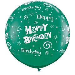 Baloane latex Jumbo 3' inscriptionate Birthday Stars & Swirls-A-Round Emerald Green, Qualatex 46323, 1 buc