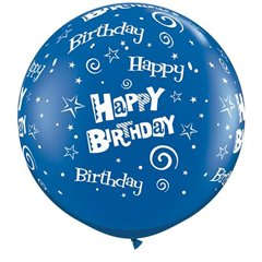 Baloane latex Jumbo 3' inscriptionate Birthday Stars & Swirls-A-Round Sapphire Blue, Qualatex 46322, set 2 buc