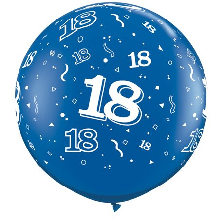 3' Printed Jumbo Latex Balloons,  18-A-Round Sapphire Blue, Qualatex 28144, Pack of 2 pieces