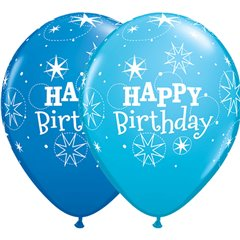 "11"" Printed Latex Balloons, Birthday Sparkle Asortate, Qualatex 38858"