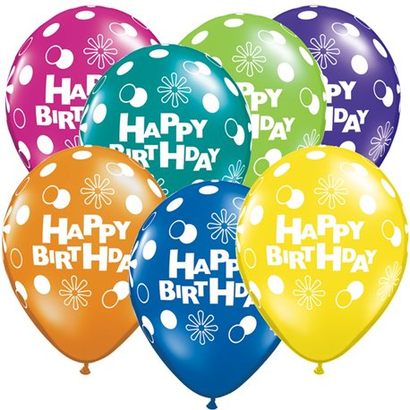 "Baloane latex 11"" inscriptionate Happy Birthday Asortate, Qualatex 14517, set 25 buc"