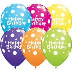 "11"" Printed Latex Balloons, Birthday Big Polka Dots Asortate, Qualatex 31564"