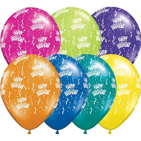 "Baloane latex 5"" inscriptionate Birthday-A-Round Asortate, Qualatex 13462, set 100 buc"