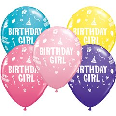 "11"" Printed Latex Balloons, Birthday Girl Asortate, Qualatex 20266"