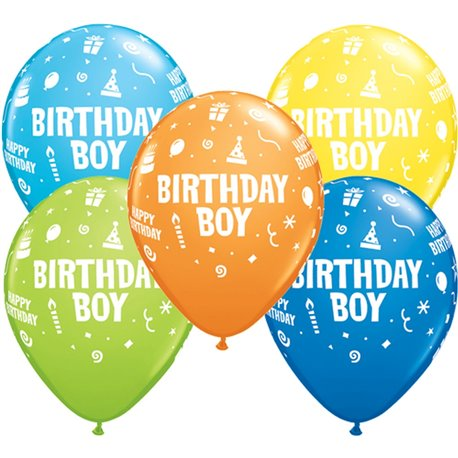 """11"""" Printed Latex Balloons, Birthday Boy Asortate, Qualatex 20265, Pack of 25 Pieces"""