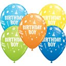 "11"" Printed Latex Balloons, Birthday Boy Asortate, Qualatex 20265, Pack of 25 Pieces"