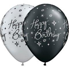 "Baloane latex 11"" inscriptionate Birthday Elegant Sparkles & Swirls Asortate, Qualatex 25235"