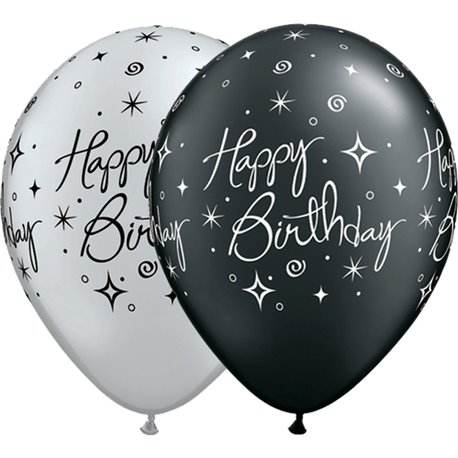 "Baloane latex 11"" inscriptionate Birthday Elegant Sparkles & Swirls Asortate, Qualatex 25235, set 25 buc"