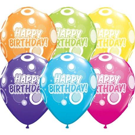"Baloane latex 11"" inscriptionate Birthday Dots & Glitz Asortate, Qualatex 36987, set 25 buc"