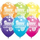 "11"" Printed Latex Balloons, Birthday Dots & Glitz Asortate, Qualatex 36987, Pack of 25 Pieces"
