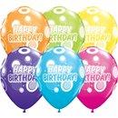 "11"" Printed Latex Balloons, Birthday Dots & Glitz Asortate, Qualatex 36987, Pack of 25 Pieces"