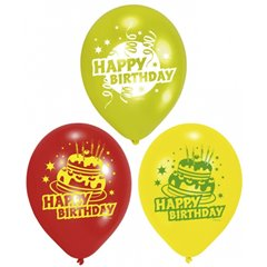 """8"""" Printed Latex Balloons, Happy Birthday Assorted, Amscan 450193, Pack of 6 Pieces"""