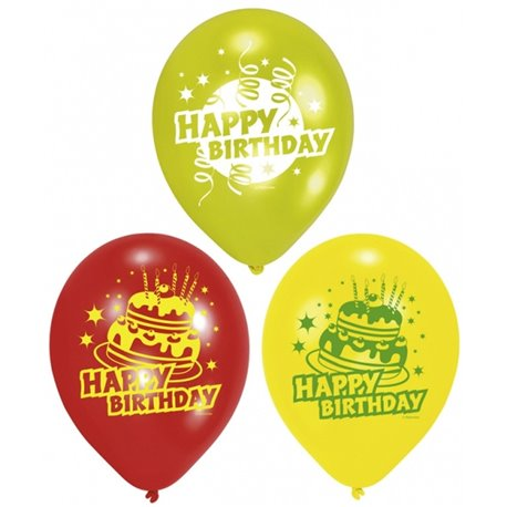 "8"" Printed Latex Balloons, Happy Birthday Assorted, Amscan 450193, Pack of 6 Pieces"