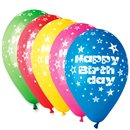 """12"""" Printed Latex Balloons, Happy Birthday Assorted, Gemar 301731, Pack of 5 Pieces"""