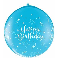 Baloane latex Jumbo 3' inscriptionate Birthday Shining Star-A-Round Robin's Egg Blue, Qualatex 31436, set 2 buc