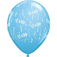 "Baloane latex 11"" inscriptionate It's a boy-a-round Pale Blue, Qualatex 11754"