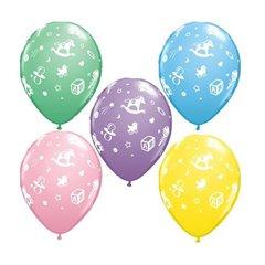 "11"" Printed Latex Balloons, Baby's Nursery Asortate, Qualatex 81382"