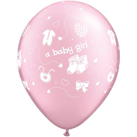 "Baloane latex 11"" inscriptionate A baby girl Pearl Pink, Qualatex 83021, set 100 buc"