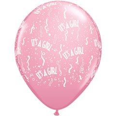 "Baloane latex 5"" inscriptionate It's a girl-a-round Pink, Qualatex 46531"